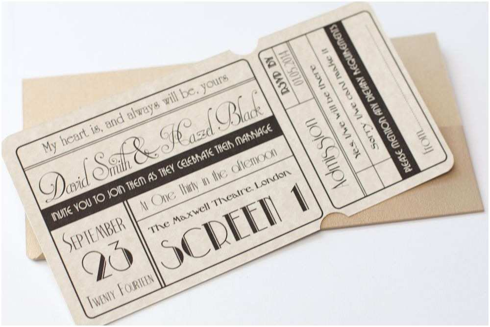 Vintage Ticket Style Wedding Invitations Unique Cinema Ticket Wedding Invitation with Wallet