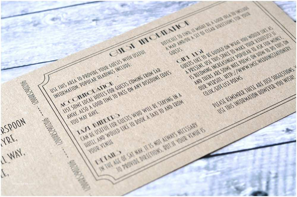 Vintage Ticket Style Wedding Invitations Vintage Cinema Ticket Style Wedding Invitation