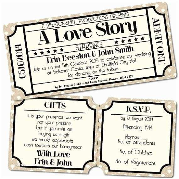 Vintage Ticket Style Wedding Invitations Vintage Retro Cinema Ticket Style Wedding Invitation