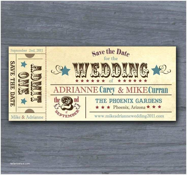 Vintage Ticket Style Wedding Invitations Vintage Rodeo Ticket Save the Date Wedding Invitation
