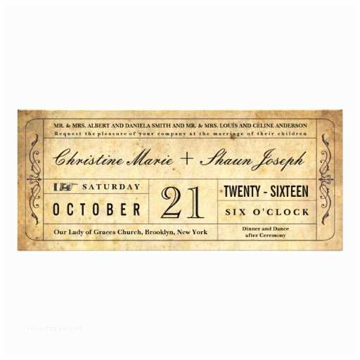 "Vintage Ticket Style Wedding Invitations Vintage Style Wedding Ticket Invitation 4"" X 9 25"