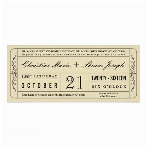 Vintage Ticket Style Wedding Invitations Vintage Style Wedding Ticket Invitation
