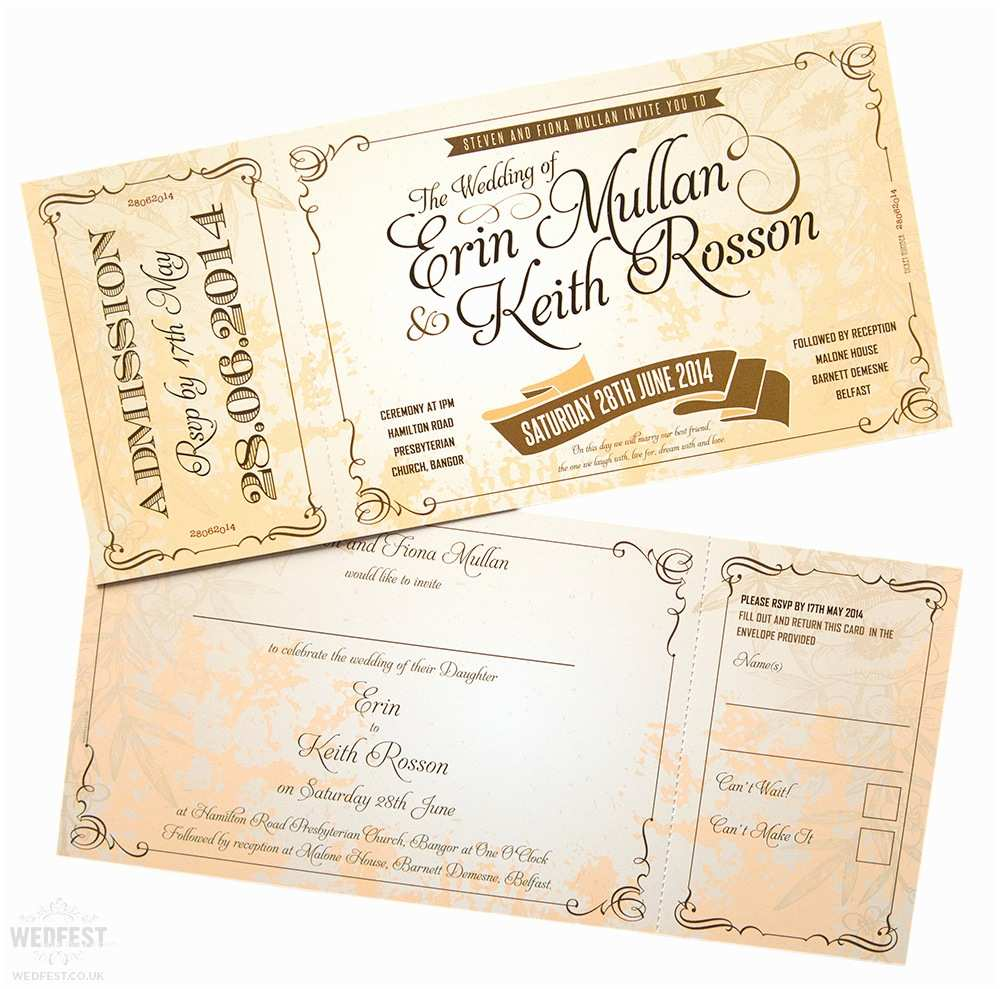 Vintage Ticket Style Wedding Invitations Vintage Ticket Style Wedding Invites