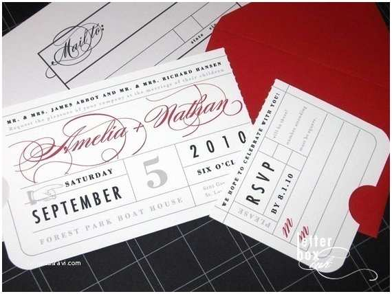 Vintage Ticket Style Wedding Invitations Vintage Ticket Wedding Invitation