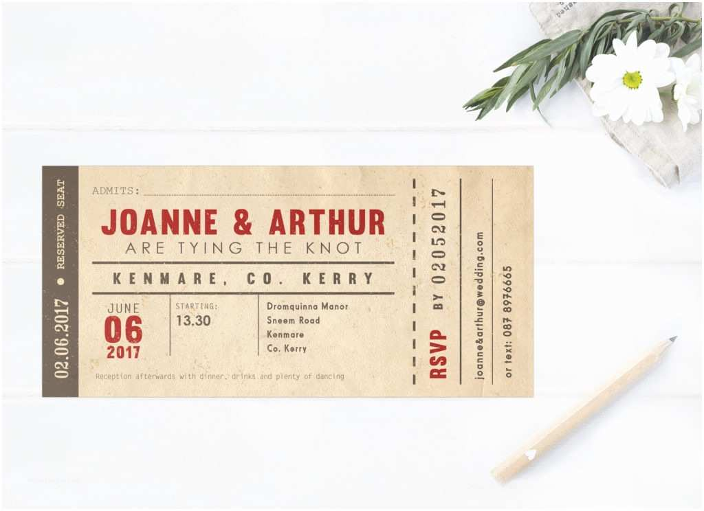 Vintage Ticket Style Wedding Invitations Vintage Wedding Stationery by Little Ivory Ireland Uk