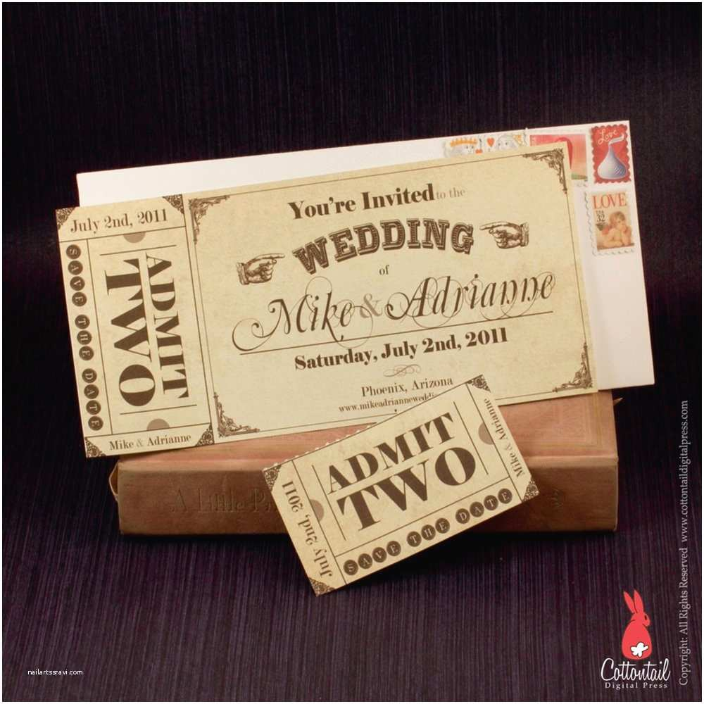Vintage Ticket Style Wedding Invitations Vintage Western Ticket Save the Date Wedding Invitation