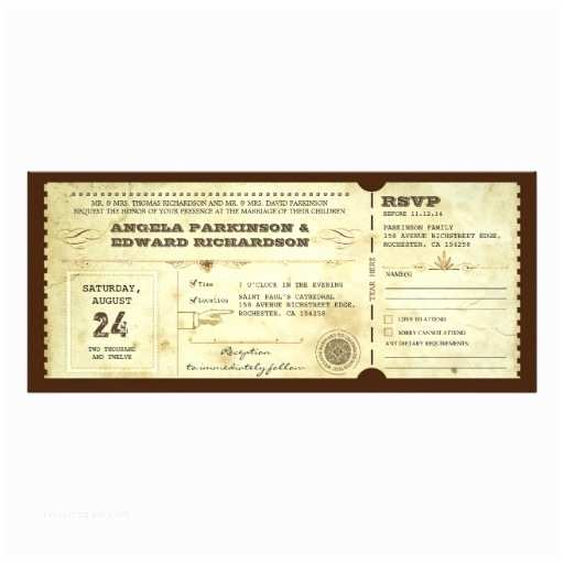 Vintage Ticket Style Wedding Invitations Wedding Vintage Ticket Invitation with Rsvp Design 10 Cm X