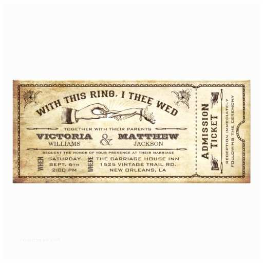 Vintage Ticket Style Wedding Invitations with This Ring Vintage Wedding Ticket Invitation