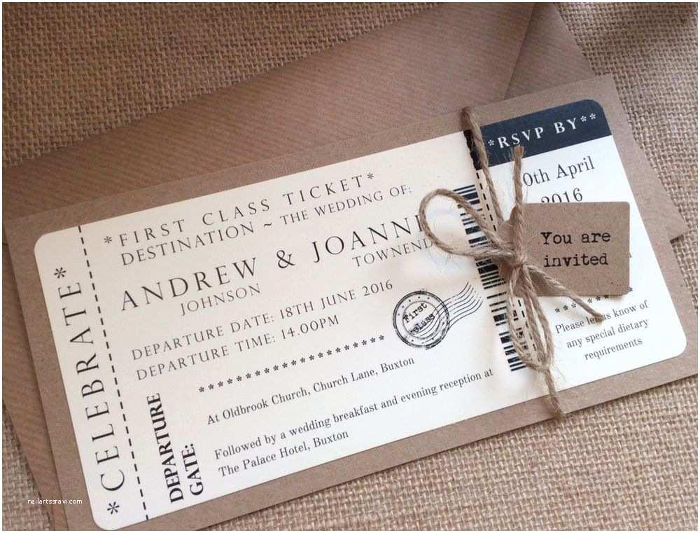 Vintage Ticket Wedding Invitations 1 Vintage Shabby Chic Style Ticket Wedding Invitation