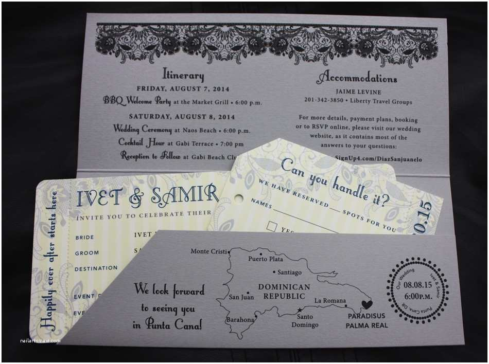 Vintage Ticket Wedding Invitations Gray Navy Yellow & Black Lace Stripes & Vintage