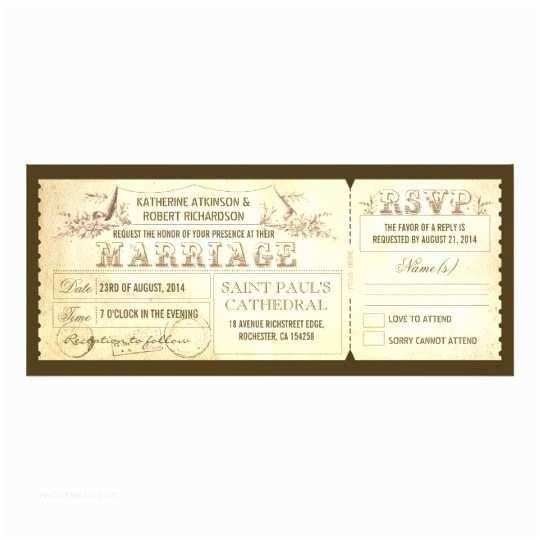 Vintage Ticket Wedding Invitations Old Vintage Wedding Invitations Tickets & Rsvp
