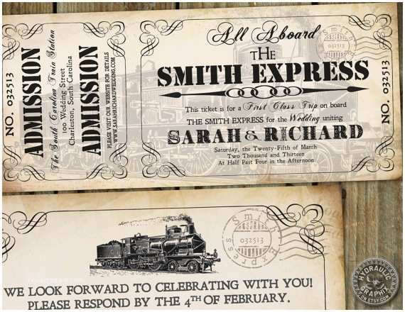 Vintage Ticket Wedding Invitations Railway Weddings