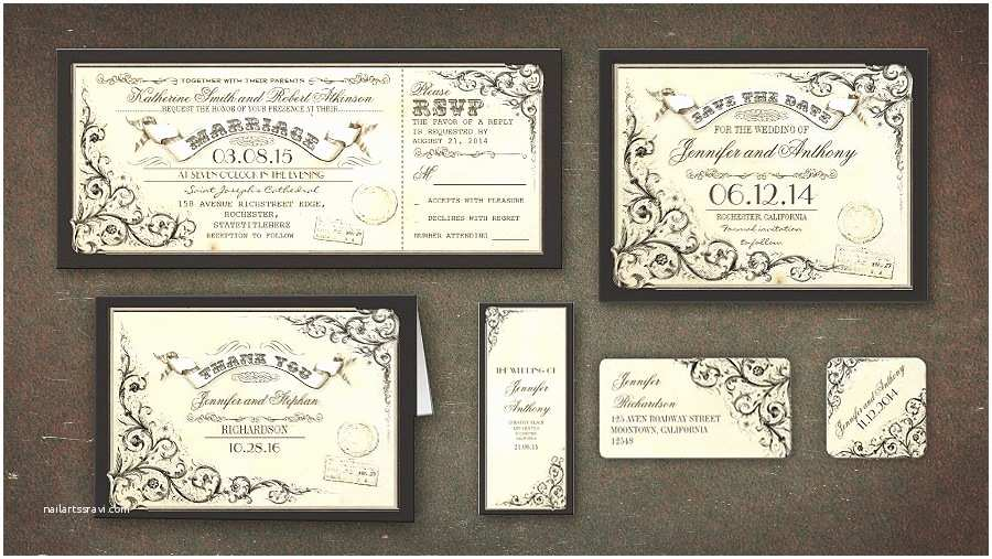 Vintage Ticket Wedding Invitations Read More – Vintage Charm Wedding Tickets Invitations