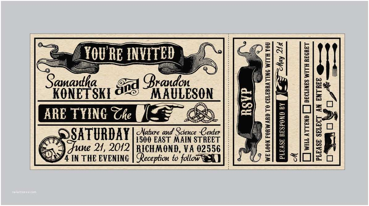 Vintage Ticket Wedding Invitations Vintage Antique Victorian Edwardian Rustic Banner by
