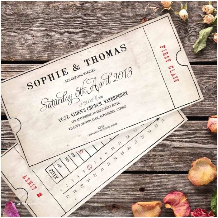 Vintage Ticket Wedding Invitations Vintage Bus Ticket Wedding Invitation