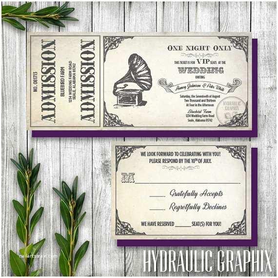 Vintage Ticket Wedding Invitations Vintage Gramophone Wedding Ticket Invitation and Rsvp