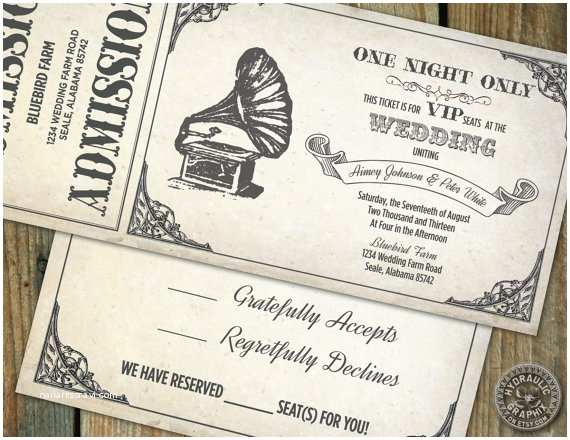 Vintage Ticket Wedding Invitations Vintage Gramophone Wedding Ticket Invitation and Rsvp