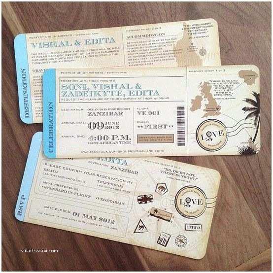 Vintage Ticket Wedding Invitations Vintage Inspired Travel Ticket Destination Wedding