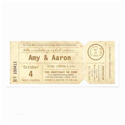 Vintage Ticket Wedding Invitations Vintage Movie theater Ticket Wedding Invitation