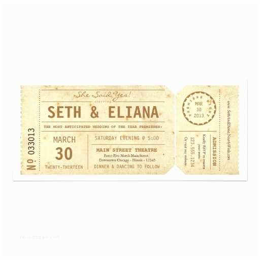 Vintage Ticket Wedding Invitations Vintage Playbill Ticket Wedding Invitation