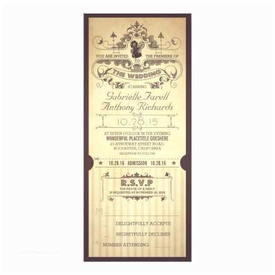 Vintage Ticket Wedding Invitations Vintage Retro Movie Tickets Wedding Invitations