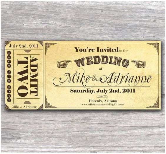 Vintage Ticket Wedding Invitations Vintage Ticket Save the Date or Wedding by Cottontailpress