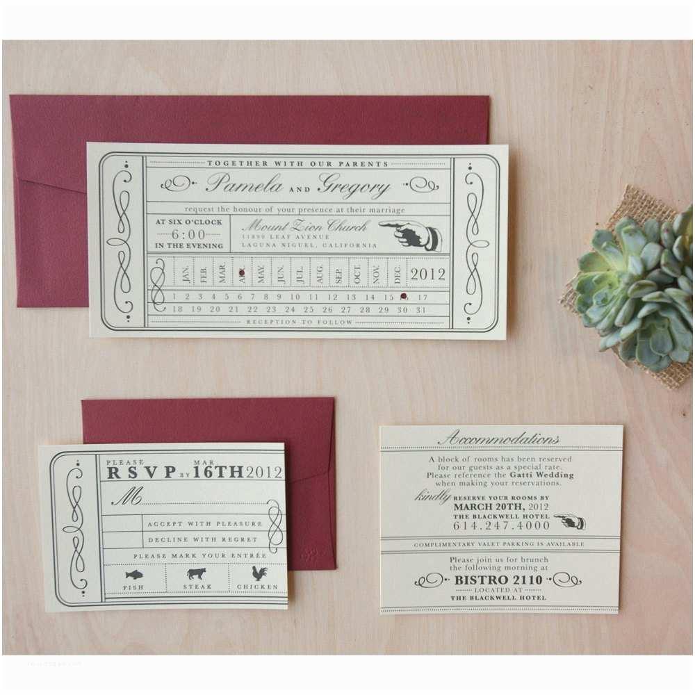 Vintage Ticket Wedding Invitations Vintage Ticket Wedding Invitation Punch Card Train Ticket