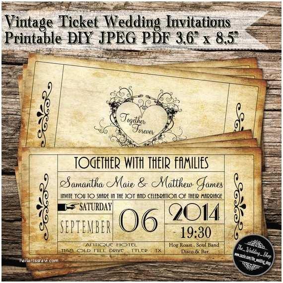 Vintage Ticket Wedding Invitations Vintage Ticket Wedding Invitations Printable Diy Jpeg Pdf