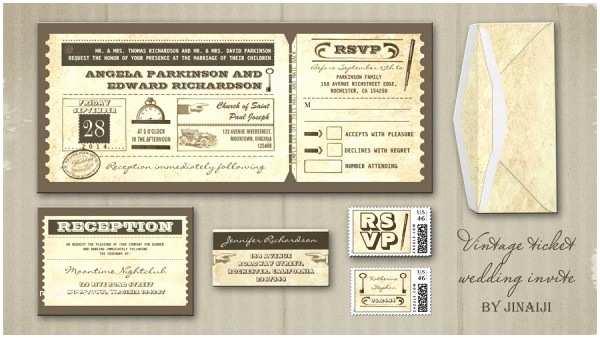 Vintage Ticket Wedding Invitations Vintage Wedding Wedding Invitations by Jinaiji