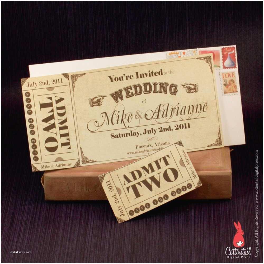 Vintage Ticket Wedding Invitations Vintage Western Ticket Save the Date Wedding Invitation
