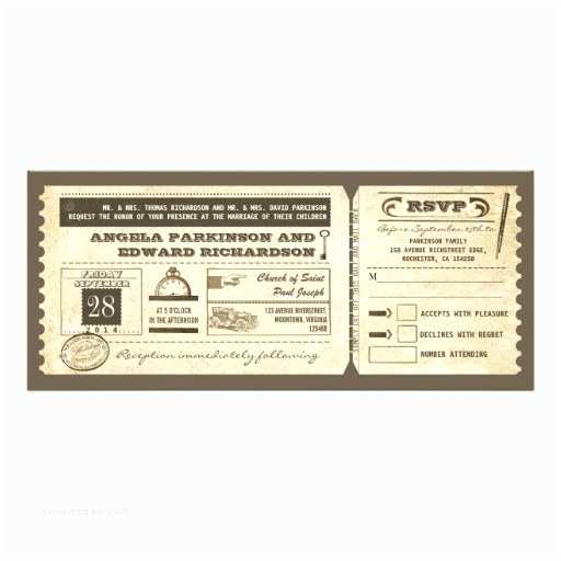 "Vintage Ticket Wedding Invitations Wedding Vintage Ticket Invitation with Rsvp Design 4"" X 9"