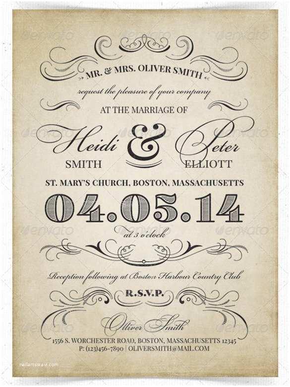 Vintage Wedding Invitation Templates 26 Vintage Wedding Invitation Templates – Free Sample