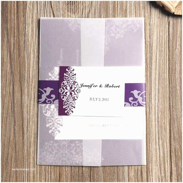Vintage Wedding Invitations Cheap Purple Vintage Damask Printed Cheap Pocket Wedding