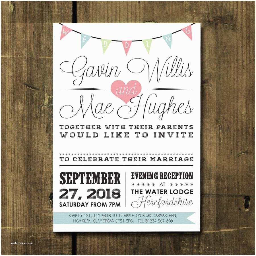 Vintage Wedding Invitations Vintage Bunting Wedding Invitation by Feel Good Wedding