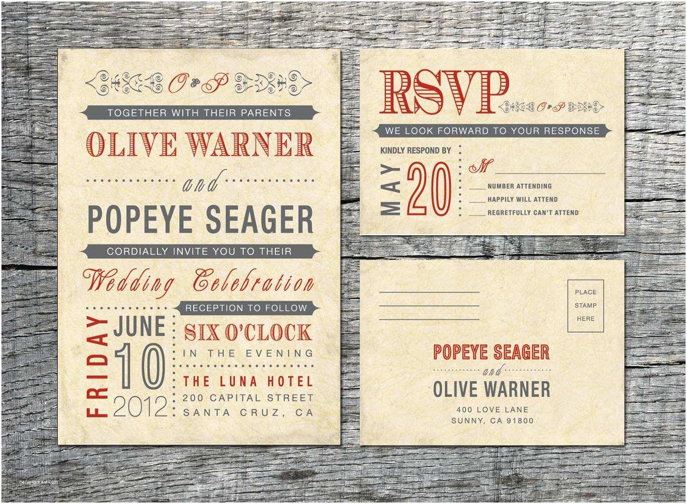 Vintage Wedding Invitations Vintage Wedding Invitation & Rsvp Card Old by