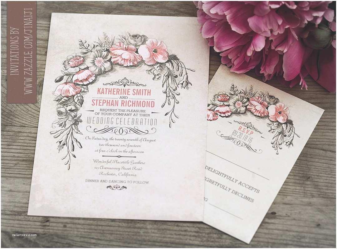 Vintage Wedding Invitations Vintage Wedding Invitation with Floral Wreath – Need