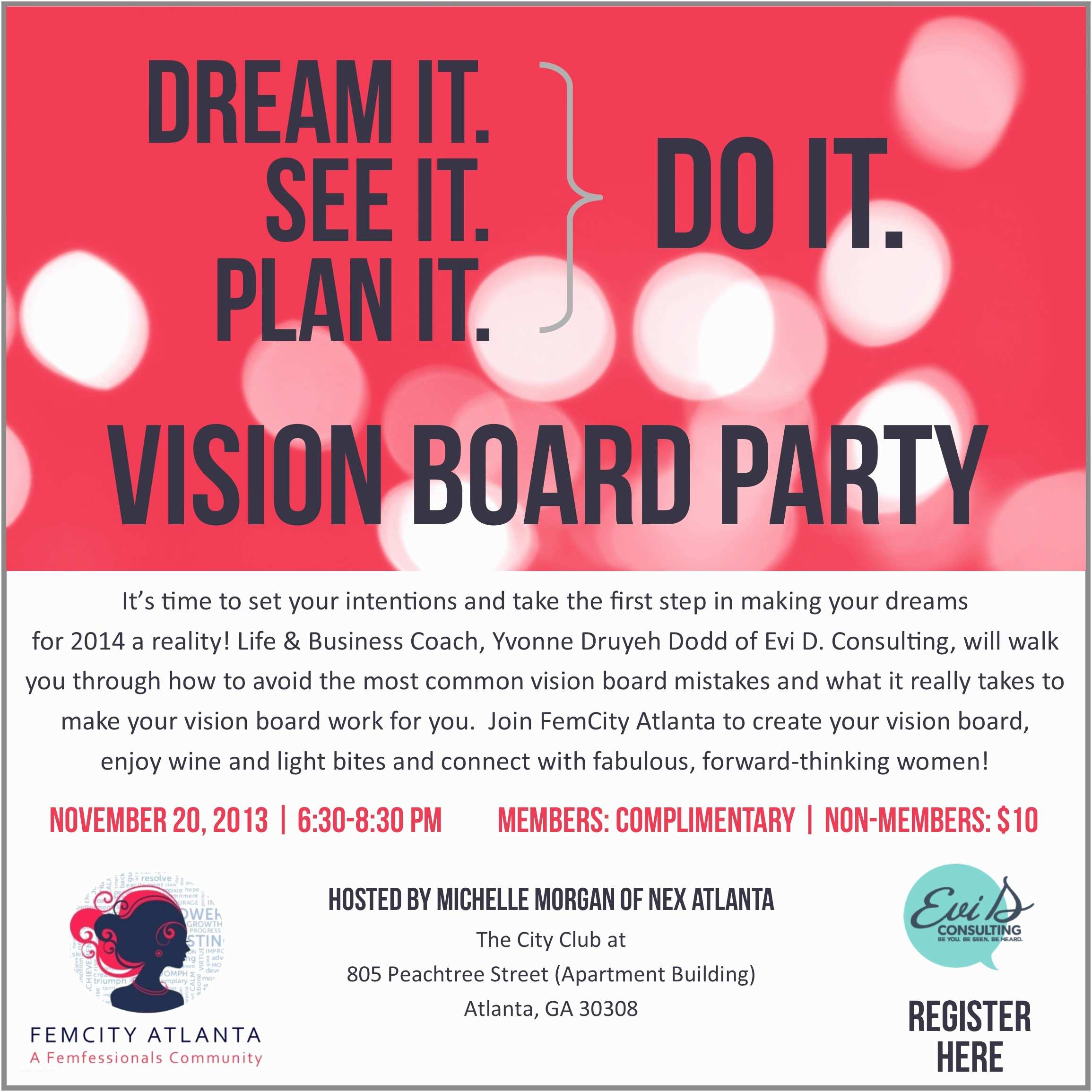 Vision Board Party Invitation Dream It Do It Vision Board Party Tickets Wed Nov 20