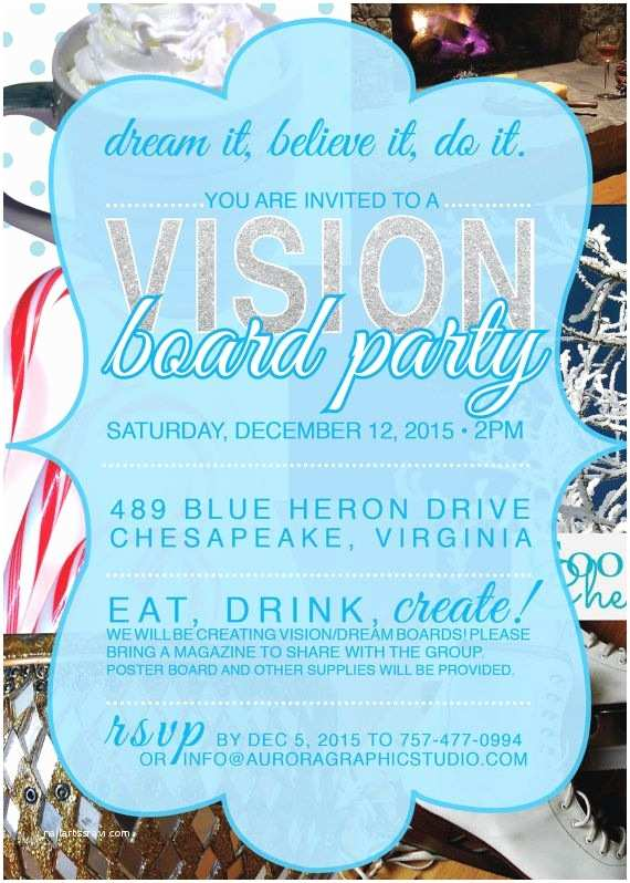 Vision Board Party Invitation Holiday Christmas Vision Board Party Invitation