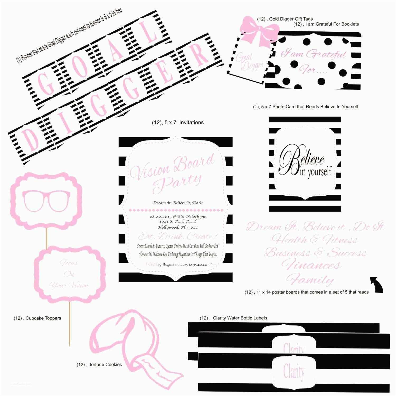 Vision Board Party Invitation Vision Board Party Package Vision Board Invitations by