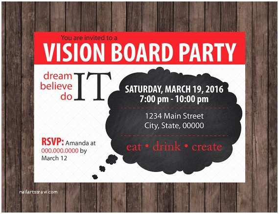 Vision Board Party Invitation Vision Board Party thought Cloud Invitation