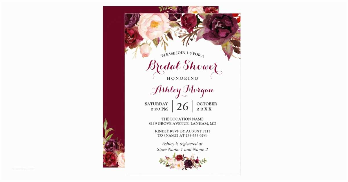Vistaprint Com Wedding Invitations Burgundy Marsala Red Floral Autumn Bridal Shower Card
