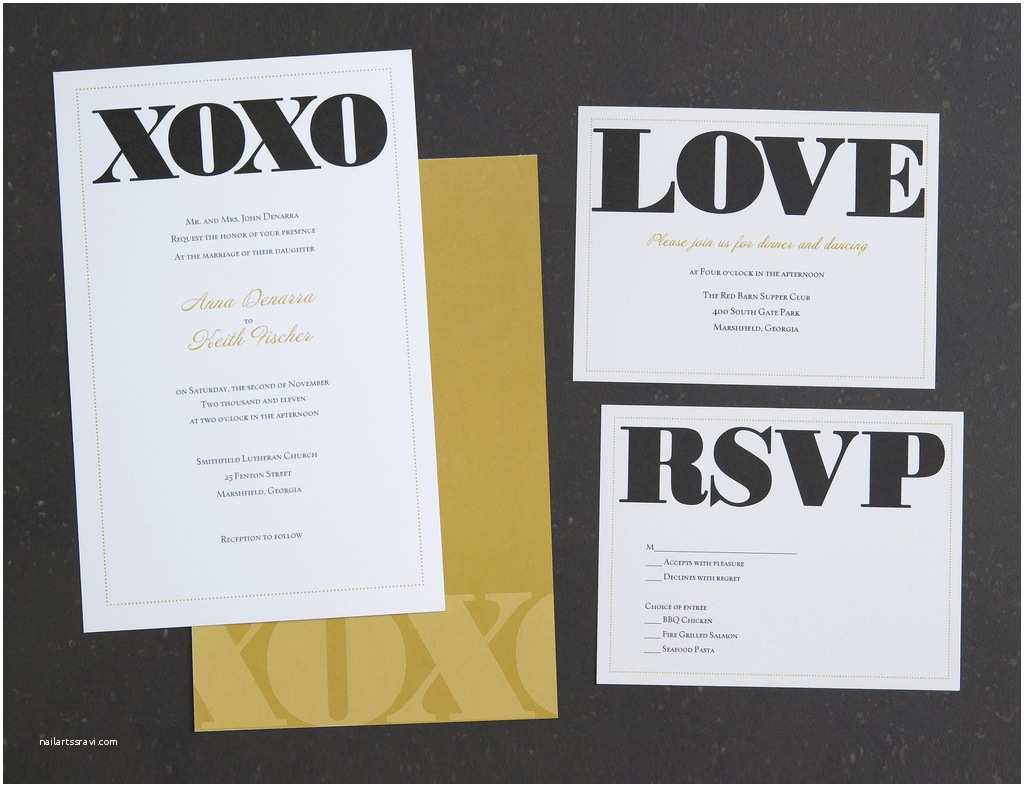Vistaprint Com Wedding Invitations Vistaprint Wedding Invitation Black Gold Xoxo 2