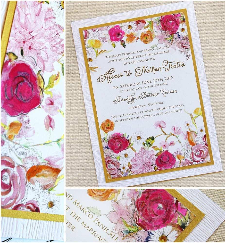 Watercolor Floral Wedding Invitations Alexis P Bright Watercolor Floral Wedding