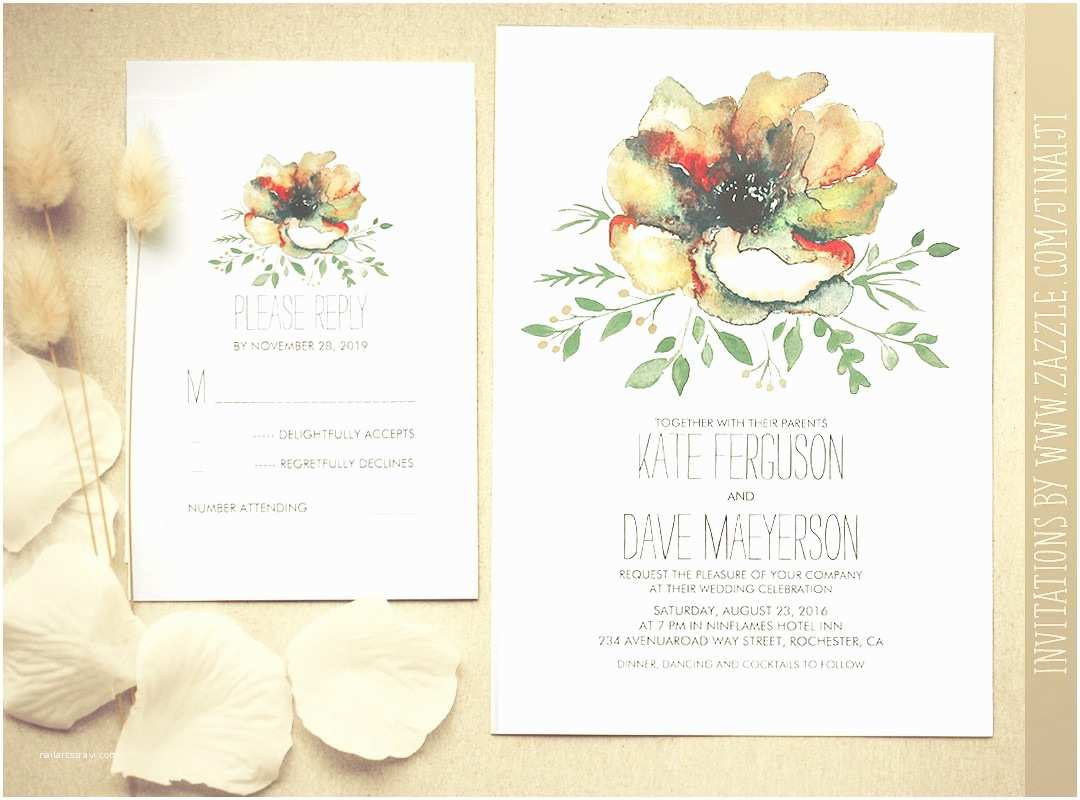 Watercolor Floral Wedding Invitations Colorful Watercolor Flower Wedding Invitation – Need