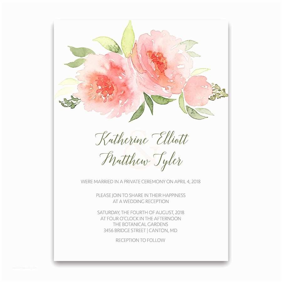Floral Wedding Invitations Coral Floral Wedding Reception Ly Invitations