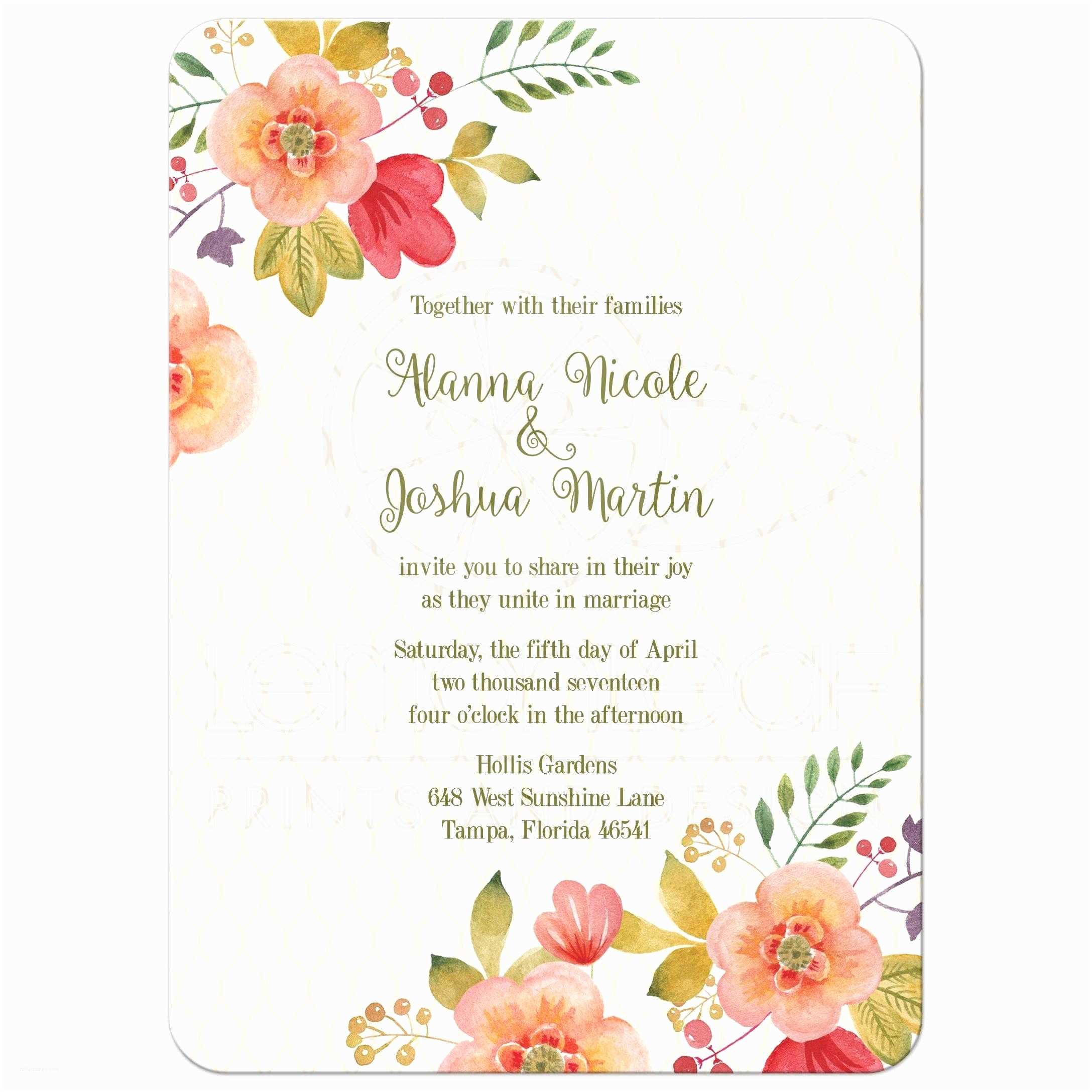 Watercolor Floral Wedding Invitations Floral Wedding Invitation Olive Green And
