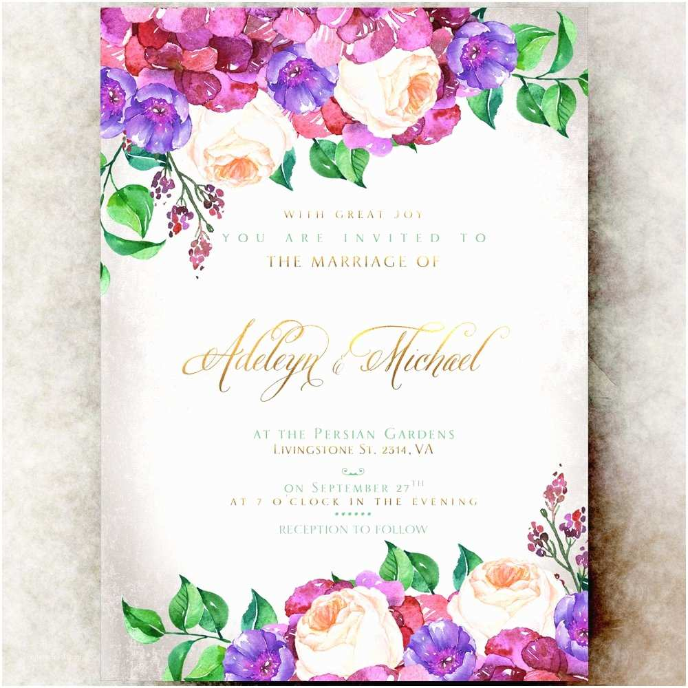Watercolor Floral  Invitations Floral  Invitation Printable Hydrangea