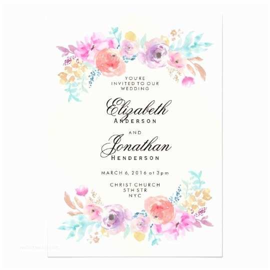 Watercolor Floral Wedding Invitations Pastel Watercolor Flowers Wedding Invitation
