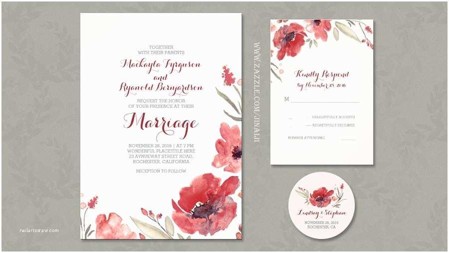 Watercolor Floral Wedding Invitations Read More – Burgundy Watercolor Flowers Romantic Wedding