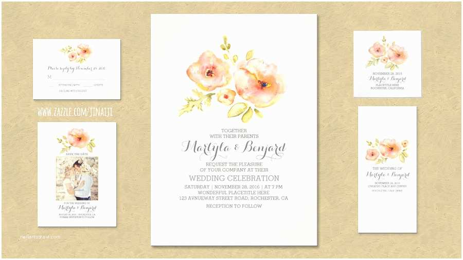 Watercolor Floral Wedding Invitations Read More – Hand Painted Watercolor Flowers Rustic and